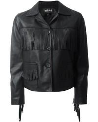 schwarze Fransen Lederjacke von Just Cavalli