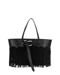 schwarze Shopper Tasche aus Leder mit Fransen von Dsquared2