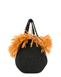 schwarze Shopper Tasche aus Stroh mit Fransen von 0711