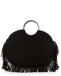 schwarze Fransen Shopper Tasche aus Wildleder