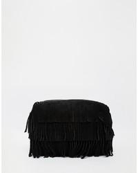 schwarze Fransen Wildleder Clutch von Asos