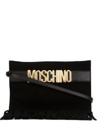 schwarze Wildleder Clutch mit Fransen von Moschino