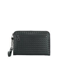 schwarze geflochtene Clutch Handtasche