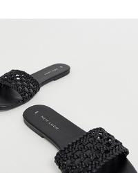 schwarze geflochtene flache Sandalen aus Leder von New Look