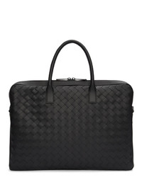 schwarze geflochtene Leder Aktentasche von Bottega Veneta