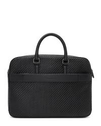 schwarze geflochtene Leder Aktentasche von Ermenegildo Zegna