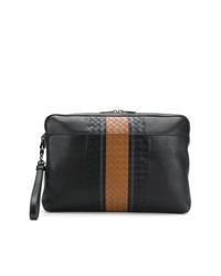 schwarze geflochtene Leder Clutch Handtasche