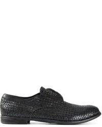 schwarze geflochtene Leder Derby Schuhe