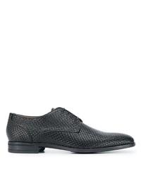 schwarze geflochtene Leder Derby Schuhe von BOSS