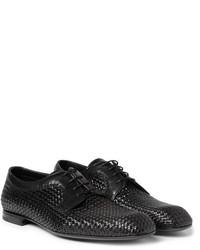 schwarze geflochtene Leder Derby Schuhe von Bottega Veneta