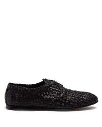 schwarze geflochtene Leder Derby Schuhe von Dolce & Gabbana