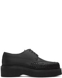 schwarze geflochtene Leder Derby Schuhe von Lanvin