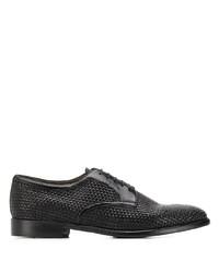 schwarze geflochtene Leder Derby Schuhe von Silvano Sassetti