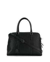 schwarze geflochtene Leder Reisetasche von Ermenegildo Zegna