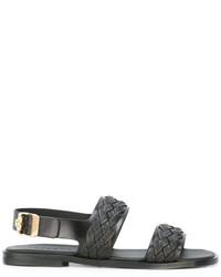 schwarze geflochtene Sandalen von Versace