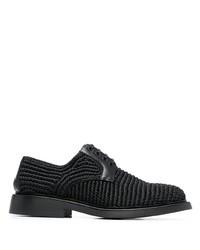 schwarze geflochtene Segeltuch Derby Schuhe von Bottega Veneta