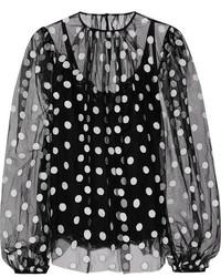 schwarze gepunktete Chiffon Langarmbluse von Dolce & Gabbana