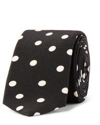 schwarze gepunktete Krawatte von Saint Laurent