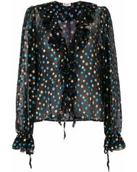 schwarze gepunktete Langarmbluse von Saint Laurent