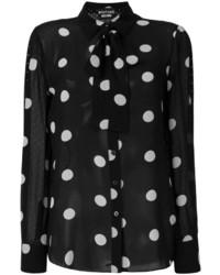 schwarze gepunktete Seide Bluse von Moschino