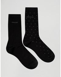 schwarze gepunktete Socken von Hugo Boss