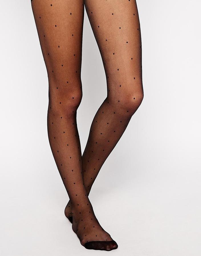schwarze gepunktete Strumpfhose von Asos