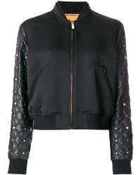 schwarze gesteppte Bomberjacke von Versace