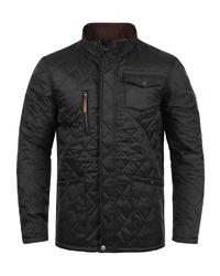 schwarze gesteppte Jacke mit einer Kentkragen und Knöpfen von BLEND