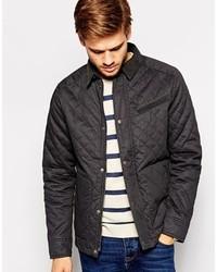 schwarze gesteppte Jacke mit einer Kentkragen und Knöpfen von Selected