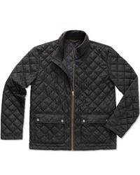 schwarze gesteppte Jacke mit einer Kentkragen und Knöpfen von Stedman