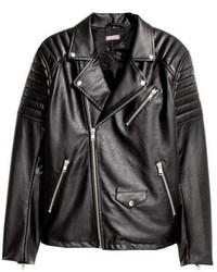 schwarze gesteppte Leder Bikerjacke