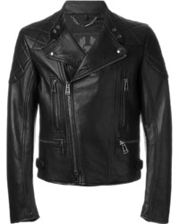 schwarze gesteppte Leder Bikerjacke von Belstaff