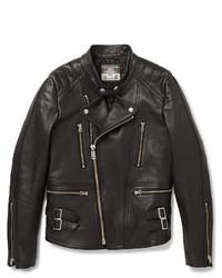 schwarze gesteppte Leder Bikerjacke von Blackmeans