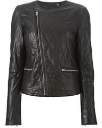 schwarze gesteppte Leder Bikerjacke von BLK DNM
