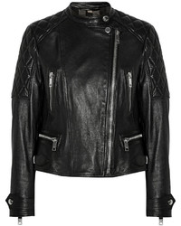 schwarze gesteppte Leder Bikerjacke von Burberry