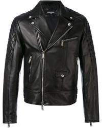 schwarze gesteppte Leder Bikerjacke von DSQUARED2