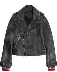 schwarze gesteppte Leder Bikerjacke von Marc by Marc Jacobs