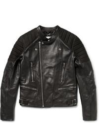 schwarze gesteppte Leder Bikerjacke von Sandro