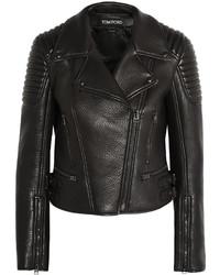 schwarze gesteppte Leder Bikerjacke von Tom Ford