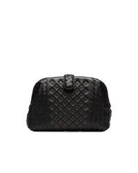 schwarze gesteppte Leder Clutch von Bottega Veneta