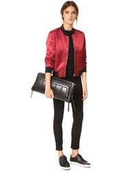 schwarze gesteppte Leder Clutch von DKNY