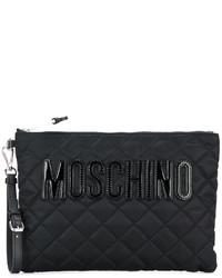 schwarze gesteppte Leder Clutch von Moschino