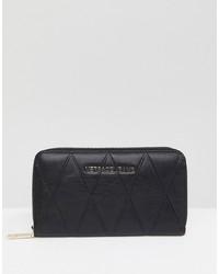 schwarze gesteppte Leder Clutch von Versace Jeans