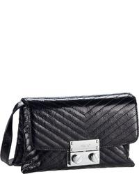 schwarze gesteppte Leder Umhängetasche von Abro