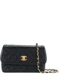 schwarze gesteppte Leder Umhängetasche von Chanel