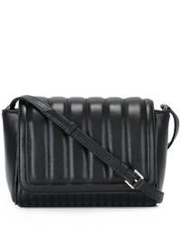 Schwarze gesteppte Leder Umhängetasche von DKNY