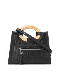 schwarze gesteppte Leder Umhängetasche von Fendi