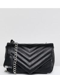 schwarze gesteppte Leder Umhängetasche von Glamorous