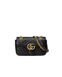 schwarze gesteppte Leder Umhängetasche von Gucci