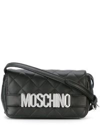 schwarze gesteppte Leder Umhängetasche von Moschino